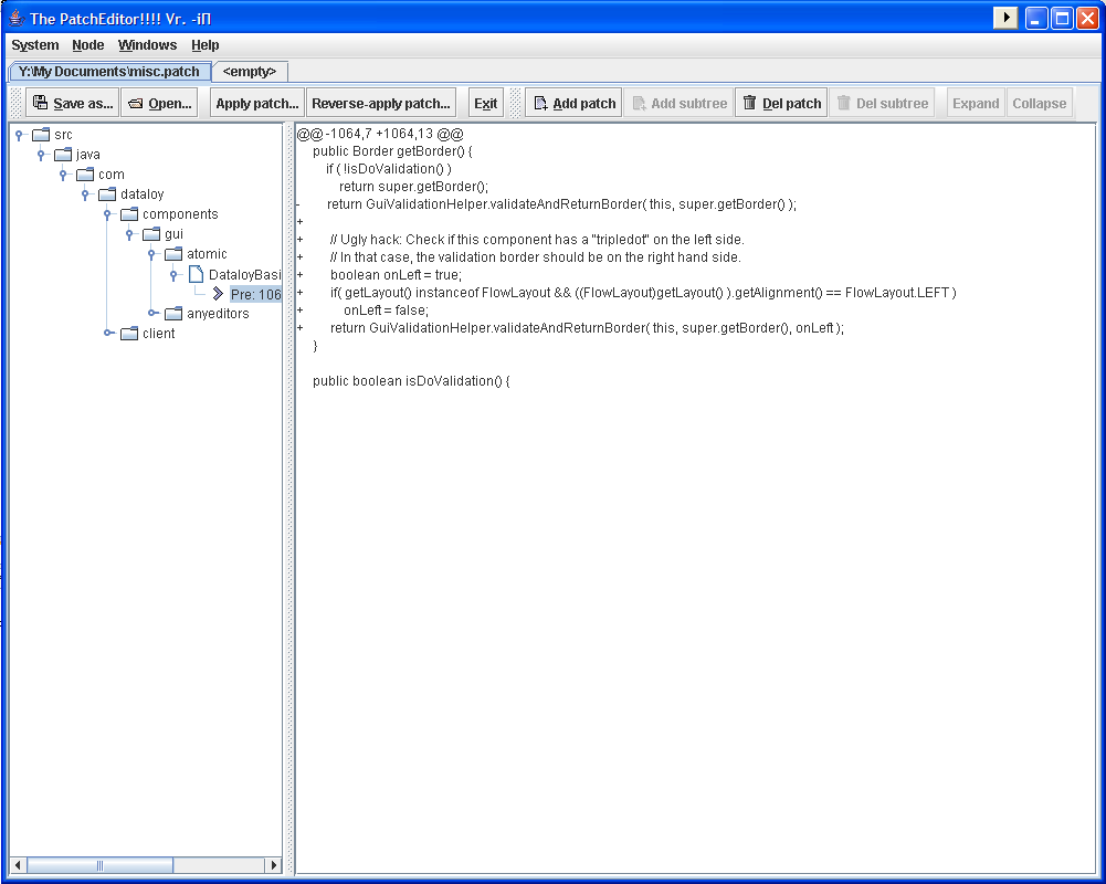Screenshot of PatchEditor after opening a patch file and adding some patches to the output